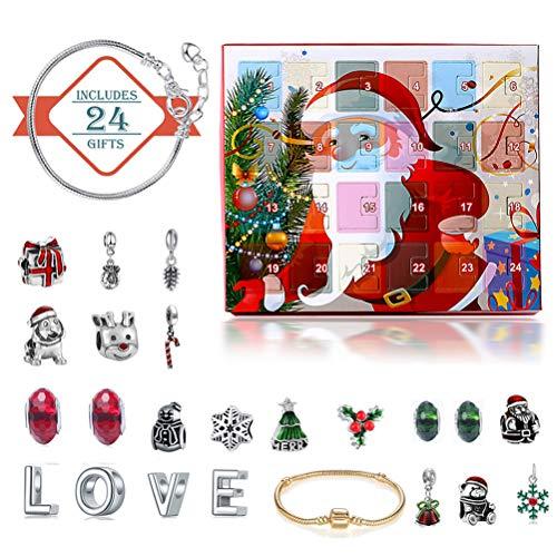 Macabolo Kerstmis Countdown kalender DIY armband halsketting sieraden maken set adventskalender voor kinderen meisjes vrouwen cadeau
