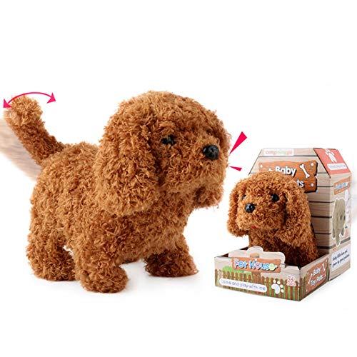 Peluche cachorro de perro, cachorro de perro que camina que ladriera electrónico interactivo juguete para mascotas para niños Boy Girls peluche cachorro de perro