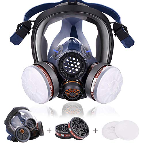 17 IN 1 Full Face Reusable Respirator, Adjustable Headband, Dust And Smoke Protection, Gases, Paint, Cleaning, Grinding, Sawing, Sanding, Welding - Medium