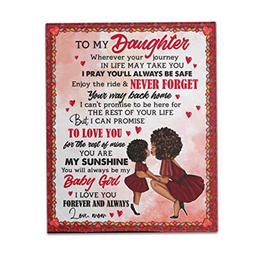 An Meine Tochter von Mama Decke, Luftpostdecke, personalisierte Nachricht Brief gedruckt Fleece Decke, Positive Ermutigung und Liebe Tochter Flanell Decke für Thanksgiving Abschlussgeschenk