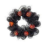 Horror Wreath for Front Door Guirnalda de la puerta de Halloween de 15 pulgadas con la puerta de la calabaza Guirnalda de malla negra Fantasma Festival de la guirnalda de la corona de la corona de la
