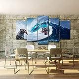 ANnjab Cuadros de decoración del hogar con Foto Abstracta Moderna, Arte de Pared de habitación, 5 Paneles, póster HD, Osos, Ola Marina, pez Gigante, Lienzo, Pintura