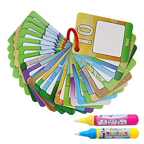 Achort Doodle Agua Libros para Colorear Tarjetas de Pintura Cognitivas de Educación Temprana para Niños Bebés Aprender Números Alfabeto con 2 Bolígrafos Mágicos(26 Tarjeta)