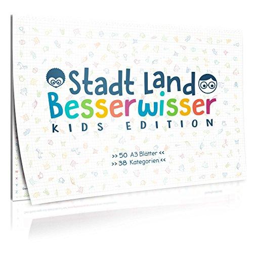 GOODS+GADGETS Stadt, Land, Besserwisser Kids Junior Edition für Kinder - der Spiele-Klassiker Stadt Land Fluss in der XXL Neuauflage mit 39 Kategorien