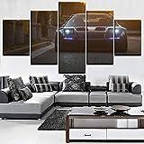 PEJHQY Lienzo Wall Art HD Impreso 5 Piezas Fotos Nissa Honda Cartel del Coche Pinturas Decoración del hogar Modular para el Marco de la Sala de Estar,Cuadros en Lienzo Modernos