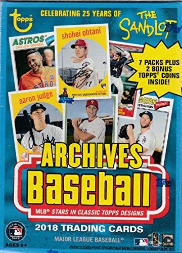 2018 Topps Archives MLB Baseball-Serie ungeöffnete Blaster-Box mit einer Chance für Shohei Otani Rookie Karten und Tonnen Autogramme plus 2 exklusive Münzen