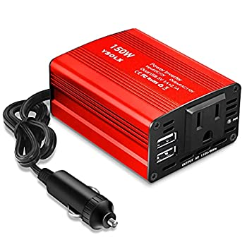 buywhat BW-150 150W Car Power Inverter DC 12V to 110V AC Outlet Converter 3.1A Dual USB Car Charger Adapter Red