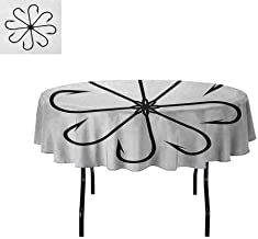 Curioly Fishing Printed Tablecloth Flower Shaped Artisan Steel Multi Hook Gaff in Row New Needle Device Figure Print Desktop Protection pad D55 Inch Black White