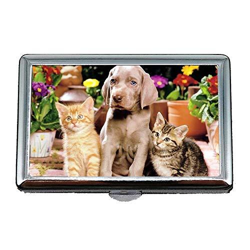 Zigaretten-Kasten-Fall-Geschenke für Vati, glücklichen englischen Bulldoggen-Welpenhund und -Katze, Kreditkarte-Halter-Fall
