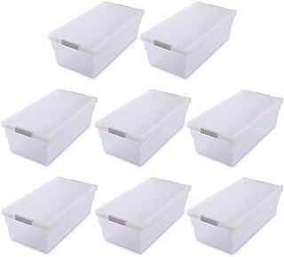 アイリスオーヤマ 収納ボックス コミック本ストッカー 8個セット 幅23.2×奥行45.4×高さ14.8cm ホワイト/クリア CMS-23