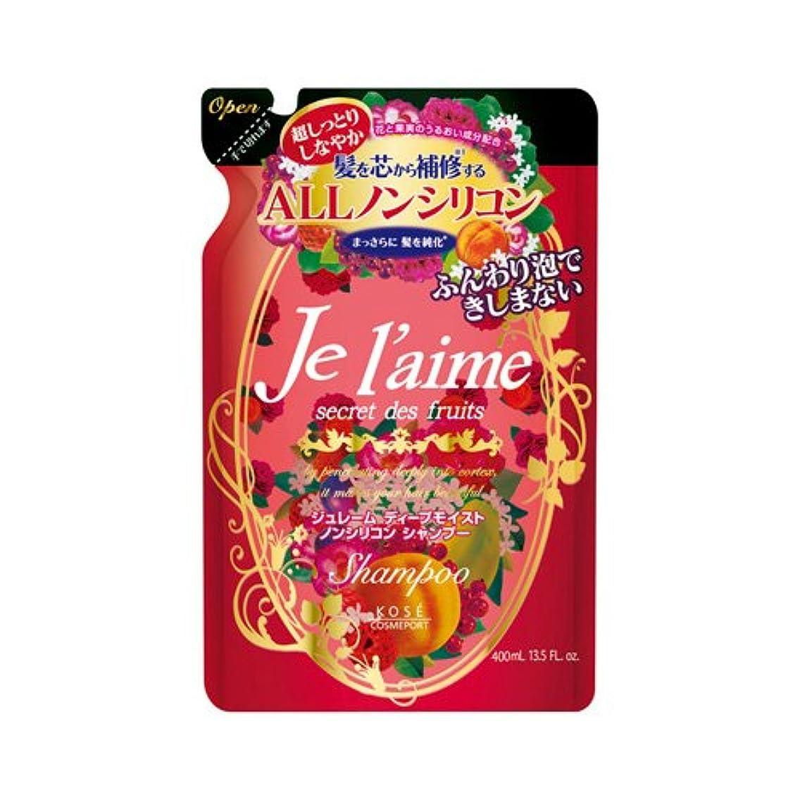 落ち着いたちらつきほぼコーセー ジュレーム シャンプー ディープモイスト つめかえ 400mL×12本セット  きらめくフェミニンな赤い花々と果実の香り