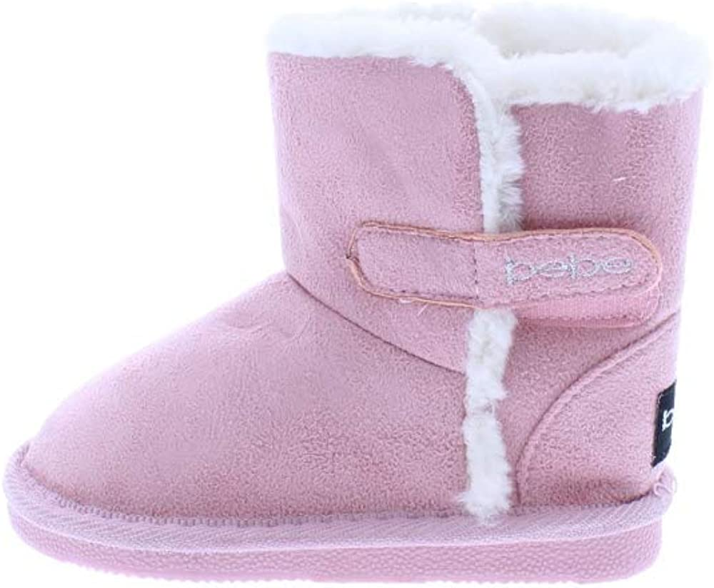 Toddler Girls Microsuede Snow Boots with Faux Fur Cuffs Slip-On Winter Shoes,Blush,7