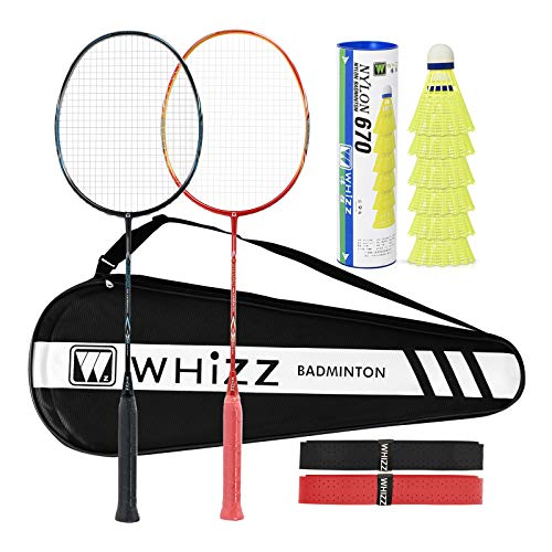 WHIZZ Heavy Duty Graphite Badminton Racket, Full Carbon Fiber Professional Set for Adults, with Badminton Bag & 2 Racquet Grip
