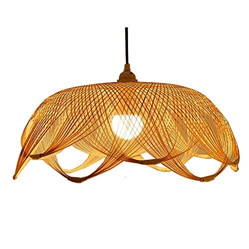 SHUANF Araña de bambú de Estilo del sudeste asiático Lámpara Colgante de Mimbre Natural Lámpara Colgante de ratán Hecha a Mano Lámpara de Techo para Sala de Estar, Restaurante, 1 luz, Base E27