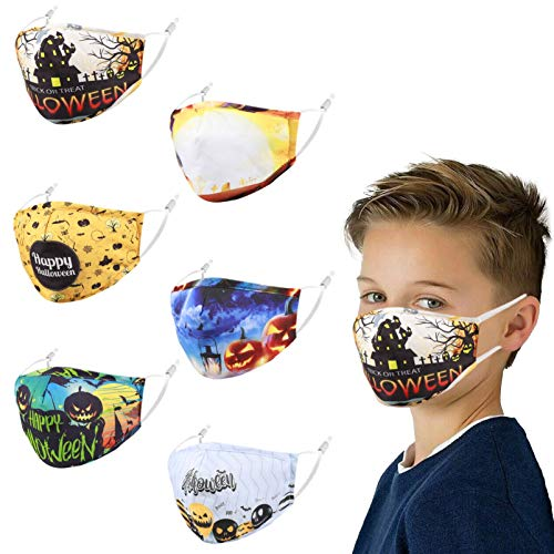 Kids Face Mask Facemask Reusable, Cute Cotton Adjustable Girl Boy Child Toddler Comfortable Youth Game Funny Size Washable Pink Colorful Pretty Cloth Design Coverings Dust Halloween Festival