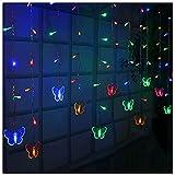Luces de cadena de mariposa impermeable al aire libre, luces de cadena de hielo de decoración de Navidad, 216 LEDs Fondo de boda de fiesta luces de hadas (Color : Color)