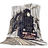 "Arts Language Flannel Fleece Throw Blanket for Couch Bed Old Steam Train Soft Cozy Lightweight Bed Blanket for Kids/Adults 49""x59"""