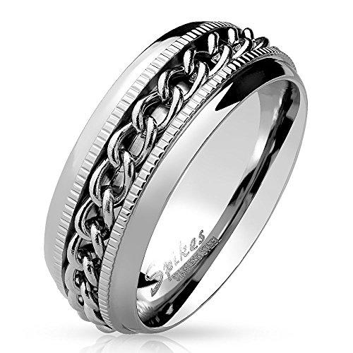 Bungsa 54 (17.2) Spinner Ring Edelstahl Silber - Ring für Damen & Herren mit Kette - drehbarer SCHMUCKRING für Frauen & Männer - EDELSTAHLRING Ketten-Ringe Silber