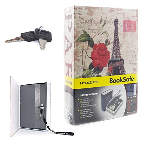 Book Safe with Key Security Diversion Hidden Eiffel Tower Safe Box Metal-EIOU-M Size