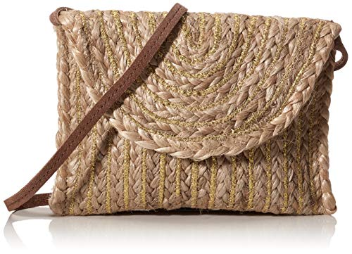 PIECES Damen PCMECKY STRAW CROSS BODY FC Umhängetasche, Nature, 16x22x1