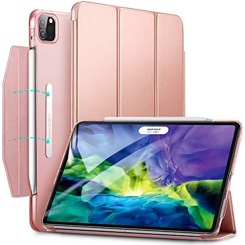 ESR Yippee Trifold Smart Case for iPad Pro 11 2020 & 2018, Lightweight Stand Case with Clasp, Auto Sleep/Wake [Supports Pencil 2 Wireless Charging], Hard Back Cover for iPad Pro 11', Rose Gold