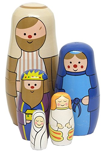 Wooden Nativity Russian Dolls Set (15cm) by Heaven Sends