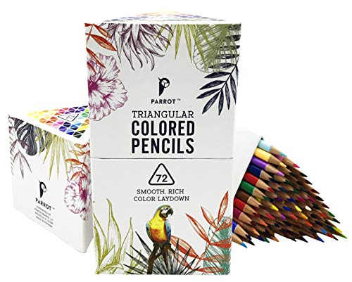 Parrot Premier 72ct Wooden Colored Pencils, Soft Core, Triangular-Shaped, Pre-Sharpened, for Artists, Adult & Kids Coloring Book, Perfect for Drawing, Coloring, Blending, and Shading