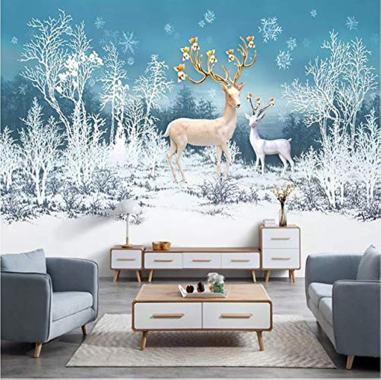 Mbwlkj Wallpaper Modern 3D Forest Deer Snow Landscape Murals Kids Bedroom Living Room Home Decor Wall Papers For Walls 3D Fresco-150cmx100cm