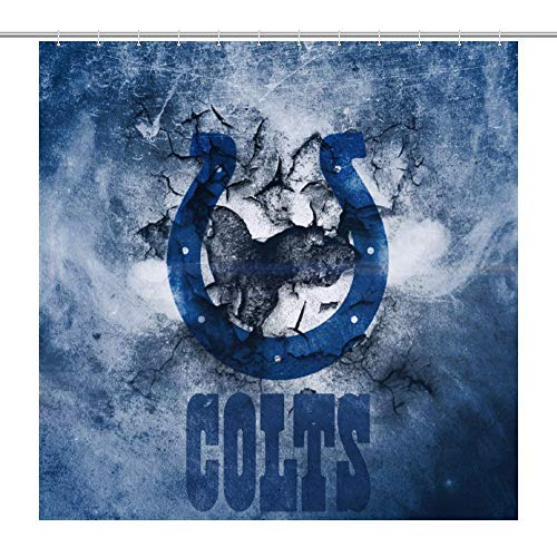 VF Indianapolis Colts Shower Curtain, Funny Fabric Bathroom Decor Set for Home and Hotel 72x72Inch (180x180cm)