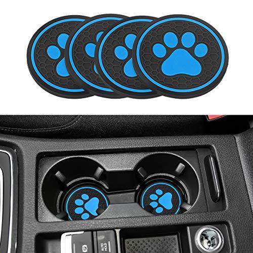 車用コースター 猫 犬の足跡 カップマット ドリンクホルダーインサートマット インテリアラバーマット ノイズ対策 防塵 防水 直径68mm 厚さ5mm アクセサリー パーツ (ブルー, 4枚入り)