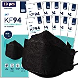 【 10 Pack 】 INT BLACK KF94 Certified, 4-Layered Face Safety, Patented Adjustable Earloop, FDA Registered Device, Individually Sealed Package'MADE IN KOREA'
