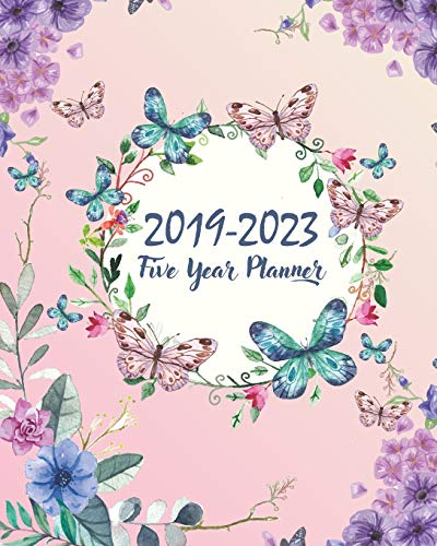 """2019-2023 Five Year Planner: Butterfly Cover 60 Months Planner and Calendar Agenda And Organizer 8"""" x 10"""" with holidays"""