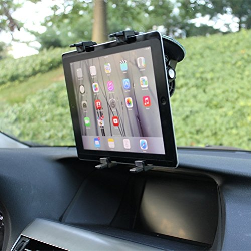 Multi-Angle Rotating Car Mount Tablet Holder Windshield Compatible with ViewSonic ViewPad E72 (7) E100 9.7 10s (10.1) 10pi (10.1) - Visual Land Prestige 7L 7 10, Connect 9 7