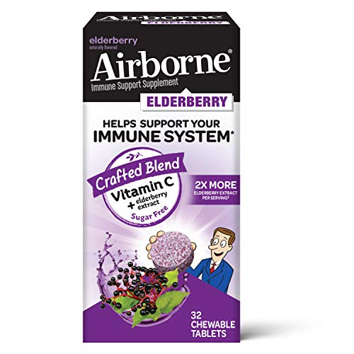 Airborne Elderberry Extract + Vitamin C 200mg (per serving) - Chewable Tablets (32 count in a box), Sugar Free Immune Support Supplement, Non-GMO, Naturally Flavored, No Color Added, Antioxidants