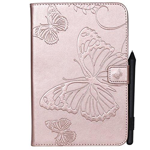 MoreChioce kompatibel mit iPad Air 2 Hülle,Dünn Roségold Schmetterling Muster Ledertasche Schutzhülle Smart Stand Flip Tablet Case mit Auto Sleep/Wake Funktion kompatibel mit iPad Air / 6/5,EINWEG