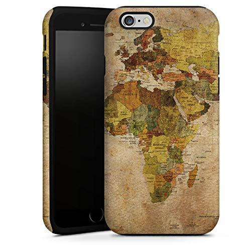 DeinDesign Cover Cellulare Opaca Compatibile con Apple iPhone 6s Plus Custodia Robusta Custodia Protettiva Opaca Mappamondo Viaggio Bussola