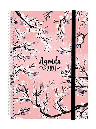 Finocam - Agenda 2021 Semana vista apaisada Espiral Design Collection Sakura Español