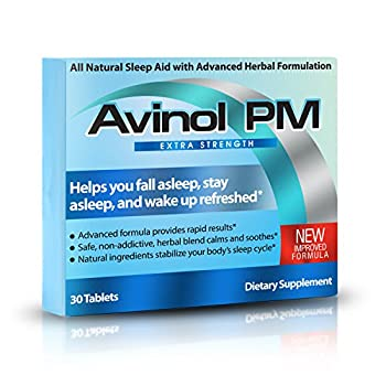 Avinol PM Extra Strength   All-in-One Natural Sleep Aid for Deep Restful Sleep – Relieve Insomnia & Jet Lag  30 ct