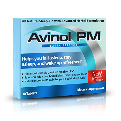 Avinol PM Extra Strength   All-in-One Natural Sleep Aid for Deep Restful Sleep – Relieve Insomnia & Jet Lag (30 ct)