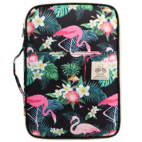 JAKAGO Travel Portfolio Organizer Waterproof A4 Document Bag Multifunctional Travel Note Pouch Zippered Carrying Case for Notebook, Ipad, Journals, Sketch Books (Flamingo)