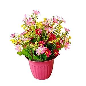 JoyRolly Mini Planta Artificial en Maceta Flor de Margarita de Seda Falsa en una Maceta Ramo de Hierba arreglos para el hogar Boda jardín Exterior decoración Interior-Amarillo Rose