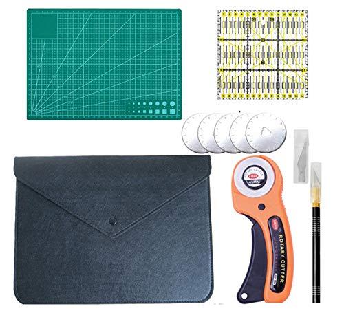 Kit de costura de con funda 32 x 25 cm. Cúter Giratorio, Cortador de tela de 45mm, Cuchillas rotativas Cortador de cuchillas redondas para costura, tela, cuero, papel, patword