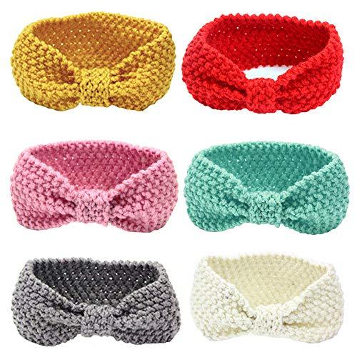 G-Tree Baby-Haar-Zusätze, 6Pcs Mädchen-Stricken Stirnband Häkelarbeitwinter Elastic Turban Headwrap für Neugeborene Kleinkind-Boy