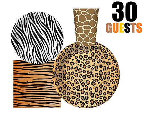 Great Features Of Serves 30 | Complete Party Pack | Jungle Safari Zoo Animal Print Party Supplies | ...