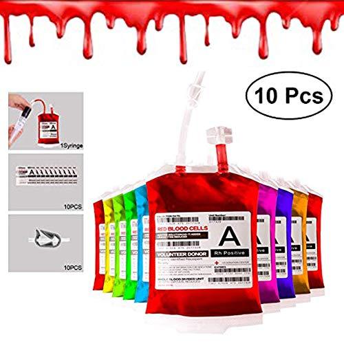 Bolsas de Sangre para Halloween,Reutilizable Contenedor Bebidas(10 Piezas),with Etiquetas para Jeringuillas,para Halloween Favores de Fiesta Zombie Decoraciones de Enfermera Regalo de Mordaza