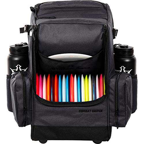 Dynamic Discs Combat Sniper Disc Golf Backpack   16 Disc Main Storage Compartment   Two Side Pockets for Extra Storage   Oversized Feet and Padded Back for Comfort and Stability (Heather Charcoal)
