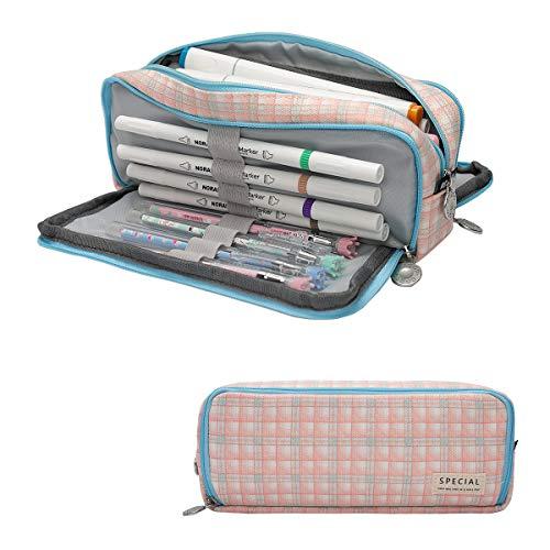 Cindeyar Federmäppchen Große Kapazität Etui Stifte 3 Fach Mäppchen Studenten Schlamperbox Bleistift Cases für Mäppchen Mädchen Teenager (222Blau und Pink)