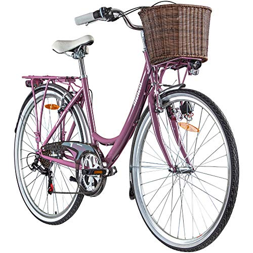 28 Zoll Galano Valencia 6 Gang Citybike Stadt Fahrrad Damenrad Damenfahrrad (Beere, 40 cm)