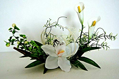 tatjana-land-deko Cocosblatt Schale Boot Kunstblume Tischdeko künstliche Orchidee Dekoration KL4