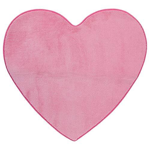 Alfombra de microfibra con forma de corazón para habitaciones infantiles, color rosa